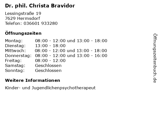 Dr. phil. Christa Bravidor in Hermsdorf: Adresse und Öffnungszeiten