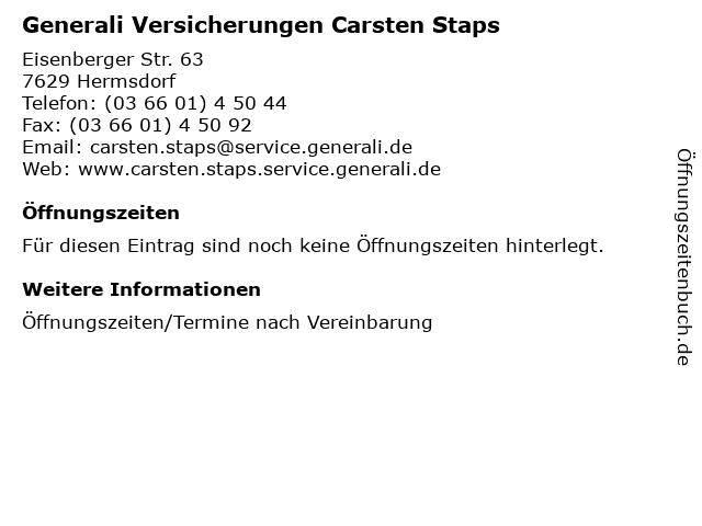 Generali Versicherungen Carsten Staps in Hermsdorf: Adresse und Öffnungszeiten