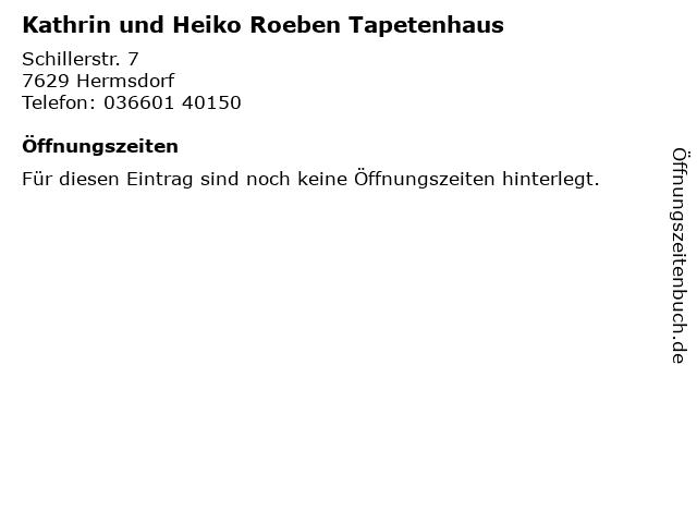 Kathrin und Heiko Roeben Tapetenhaus in Hermsdorf: Adresse und Öffnungszeiten