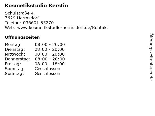 Kosmetikstudio Kerstin in Hermsdorf: Adresse und Öffnungszeiten