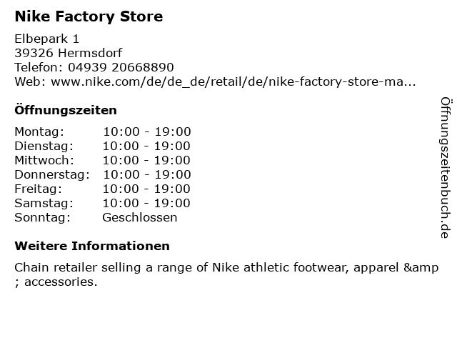 Nike Factory Store in Hermsdorf: Adresse und Öffnungszeiten
