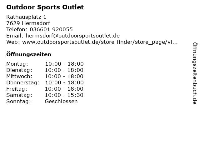 Outdoor Sports Outlet in Hermsdorf: Adresse und Öffnungszeiten