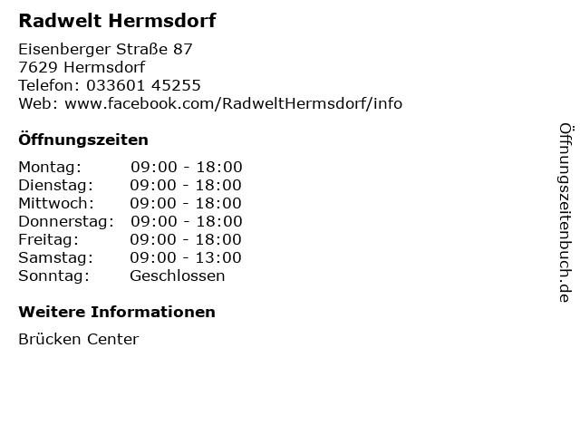 Radwelt Hermsdorf in Hermsdorf: Adresse und Öffnungszeiten