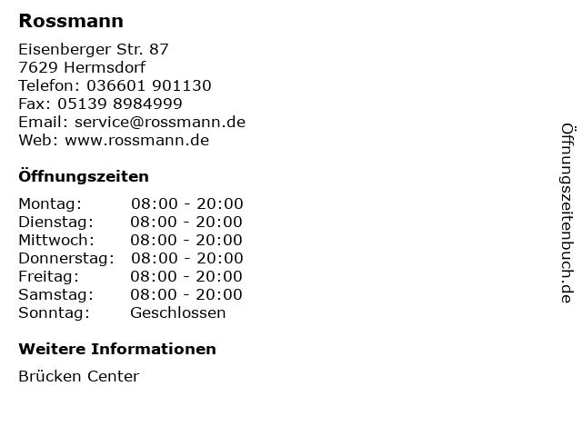 Rossmann in Hermsdorf: Adresse und Öffnungszeiten