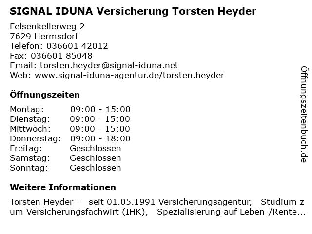 SIGNAL IDUNA Torsten Heyder in Hermsdorf: Adresse und Öffnungszeiten