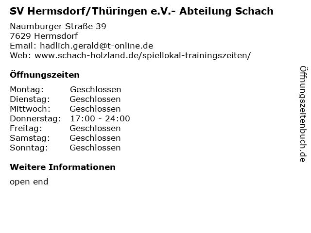 SV Hermsdorf/Thüringen e.V.- Abteilung Schach in Hermsdorf: Adresse und Öffnungszeiten