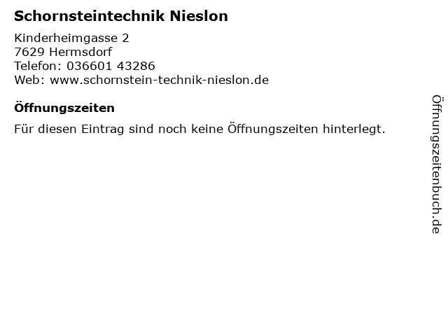 Schornsteintechnik Nieslon in Hermsdorf: Adresse und Öffnungszeiten
