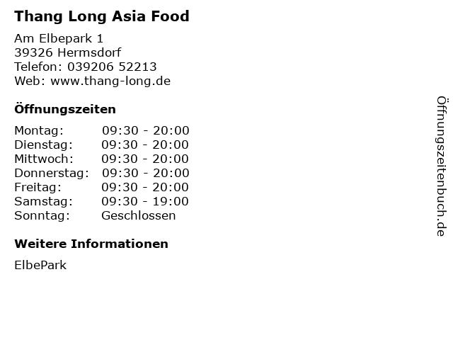 Thang Long Asia Food in Hermsdorf: Adresse und Öffnungszeiten