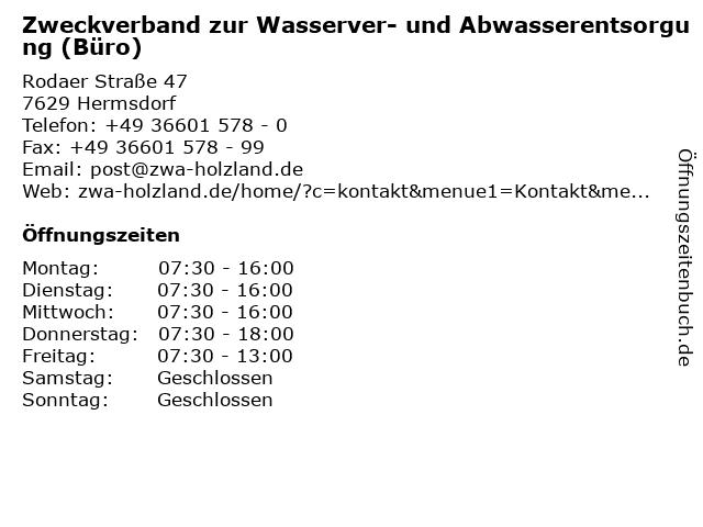Zweckverband zur Wasserver- und Abwasserentsorgung (Büro) in Hermsdorf: Adresse und Öffnungszeiten