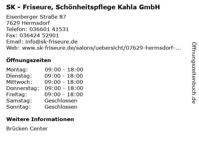 sk friseure und kosmetik in Hermsdorf: Adresse und Öffnungszeiten