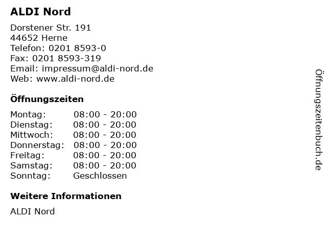 ALDI Nord in Herne: Adresse und Öffnungszeiten