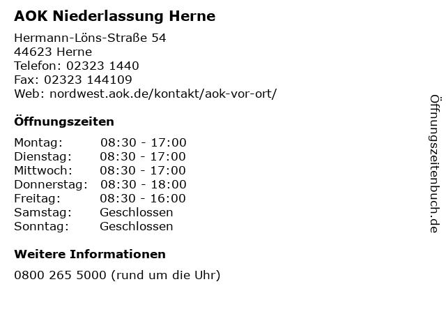 AOK Niederlassung Herne in Herne: Adresse und Öffnungszeiten