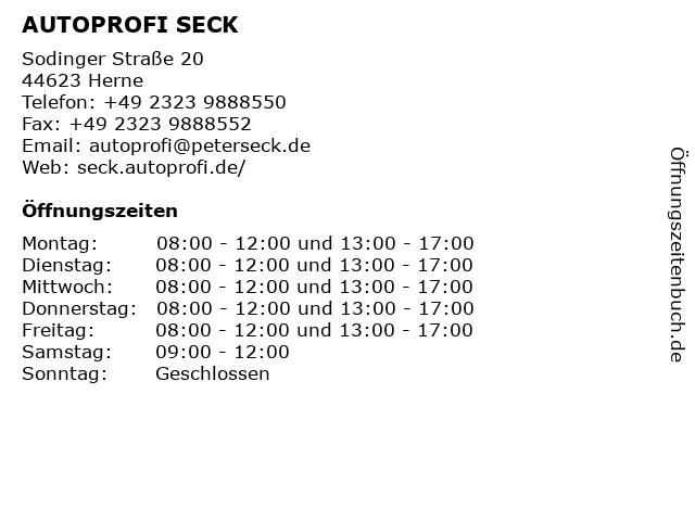 AUTOPROFI SECK in Herne: Adresse und Öffnungszeiten