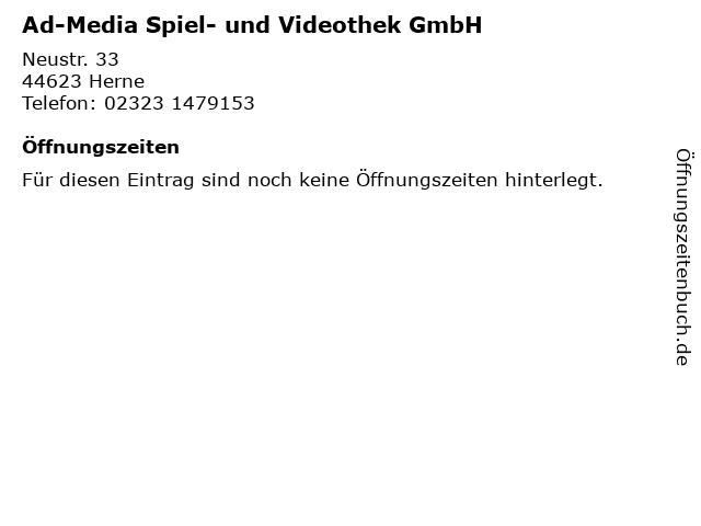 Ad-Media Spiel- und Videothek GmbH in Herne: Adresse und Öffnungszeiten