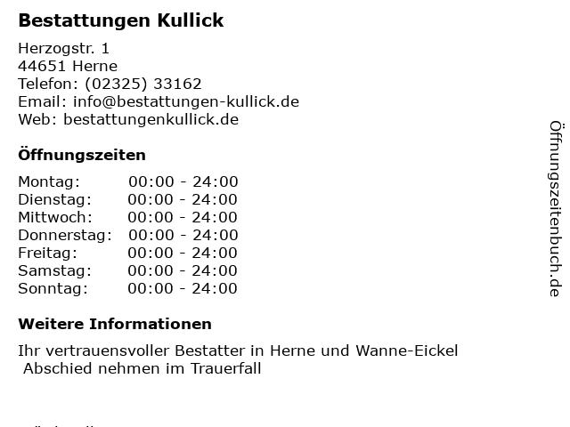 Bestattungen Kullick in Herne: Adresse und Öffnungszeiten