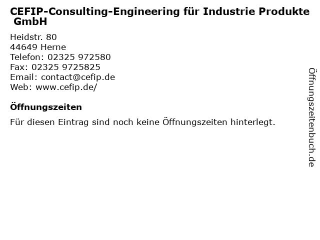 CEFIP-Consulting-Engineering für Industrie Produkte GmbH in Herne: Adresse und Öffnungszeiten