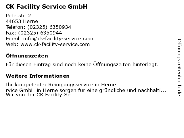 CK Facility Service GmbH in Herne: Adresse und Öffnungszeiten
