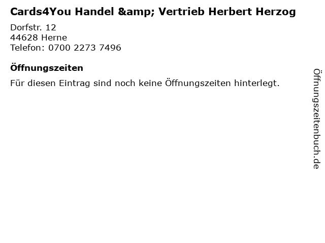 Cards4You Handel & Vertrieb Herbert Herzog in Herne: Adresse und Öffnungszeiten