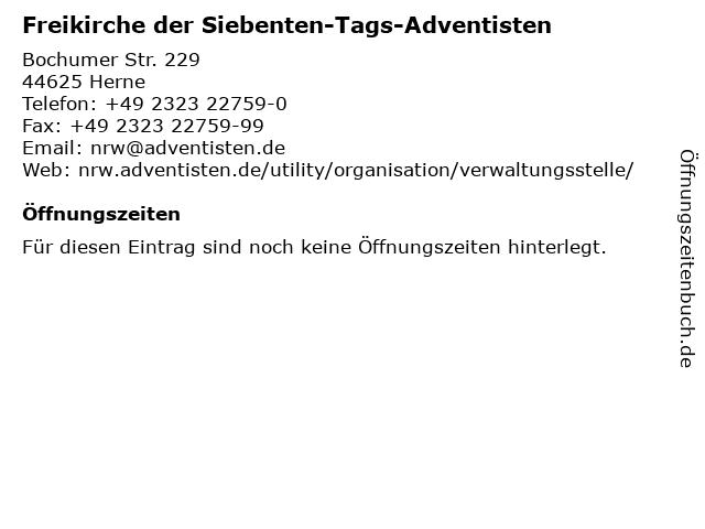 Freikirche der Siebenten-Tags-Adventisten in Herne: Adresse und Öffnungszeiten