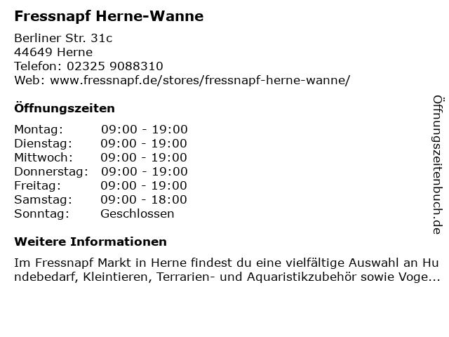 Fressnapf Herne II in Herne: Adresse und Öffnungszeiten