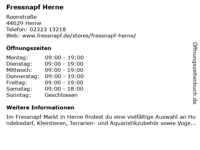 Fressnapf Herne in Herne: Adresse und Öffnungszeiten