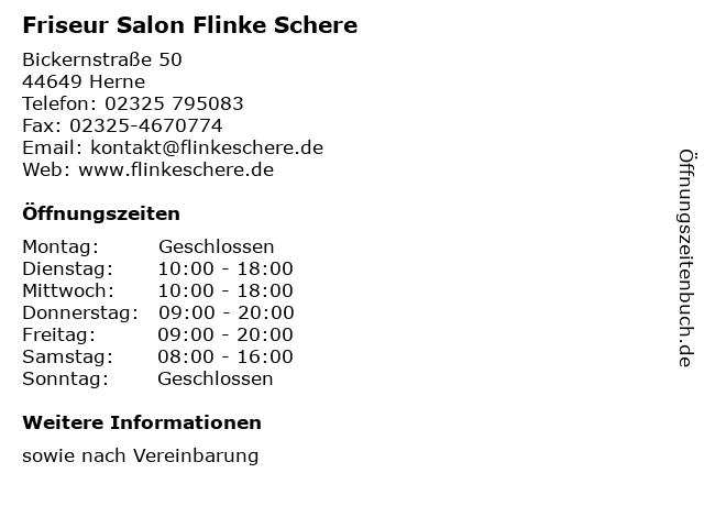 Friseur Salon Flinke Schere in Herne: Adresse und Öffnungszeiten