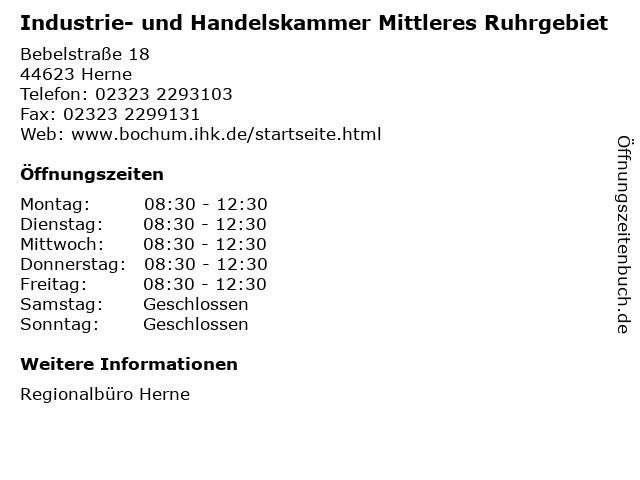 Industrie- und Handelskammer Mittleres Ruhrgebiet in Herne: Adresse und Öffnungszeiten