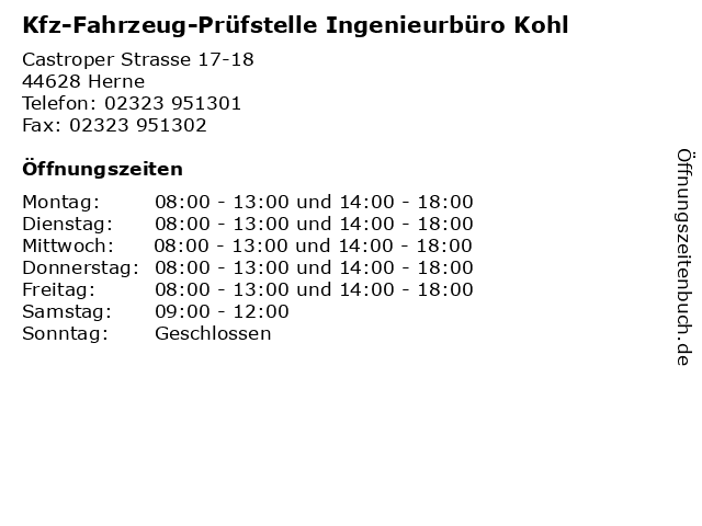 Kfz-Fahrzeug-Prüfstelle Ingenieurbüro Kohl in Herne: Adresse und Öffnungszeiten
