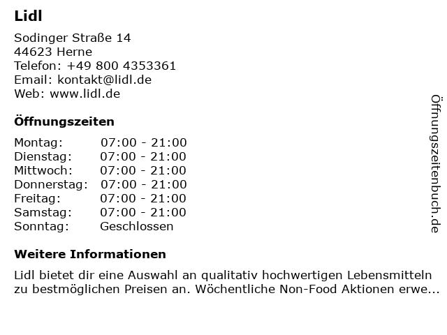 Lidl in Herne: Adresse und Öffnungszeiten