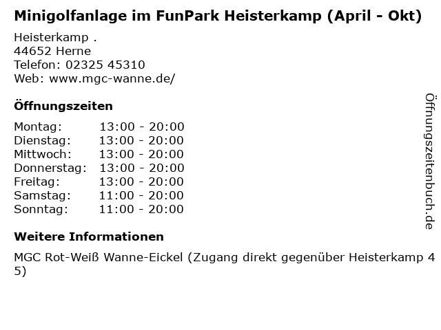 Minigolfanlage im FunPark Heisterkamp (April - Okt) in Herne: Adresse und Öffnungszeiten