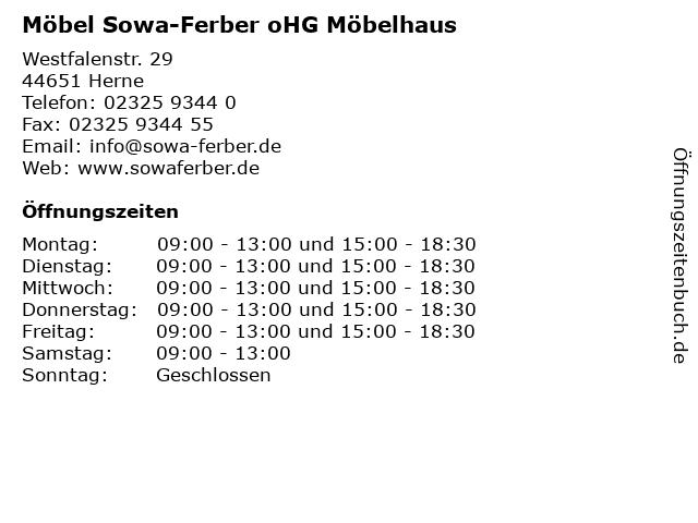 ᐅ öffnungszeiten Möbel Sowa Ferber Ohg Möbelhaus Westfalenstr