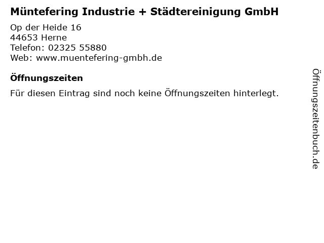 Müntefering Industrie + Städtereinigung GmbH in Herne: Adresse und Öffnungszeiten