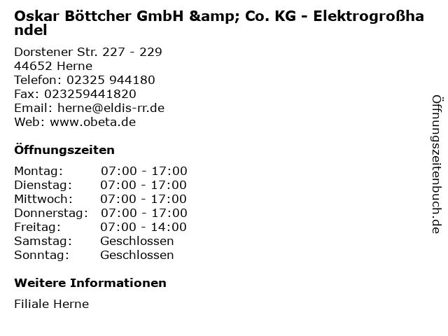 Oskar Böttcher GmbH & Co. KG - Elektrogroßhandel in Herne: Adresse und Öffnungszeiten