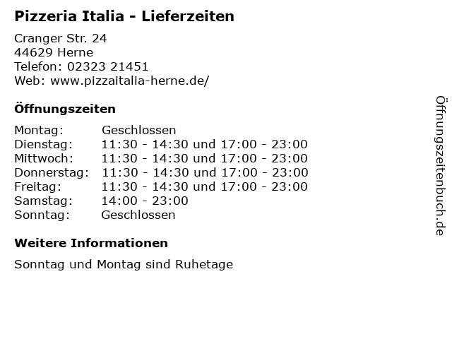 Pizzeria Italia - Lieferzeiten in Herne: Adresse und Öffnungszeiten