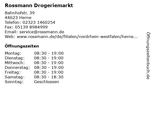 Rossmann Drogeriemarkt in Herne: Adresse und Öffnungszeiten