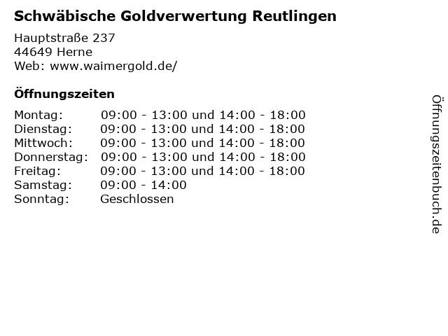 Schwäbische Goldverwertung Reutlingen in Herne: Adresse und Öffnungszeiten