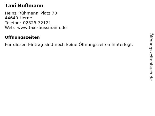 Taxi Bußmann in Herne: Adresse und Öffnungszeiten