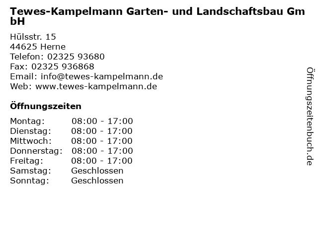 Tewes-Kampelmann Garten- und Landschaftsbau GmbH in Herne: Adresse und Öffnungszeiten