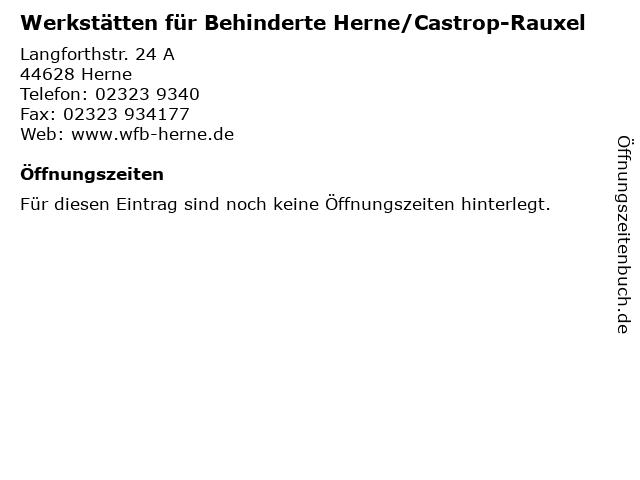 Werkstätten für Behinderte Herne/Castrop-Rauxel in Herne: Adresse und Öffnungszeiten