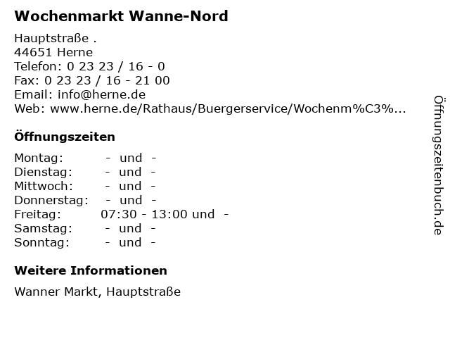 Wochenmarkt Wanne-Nord in Herne: Adresse und Öffnungszeiten