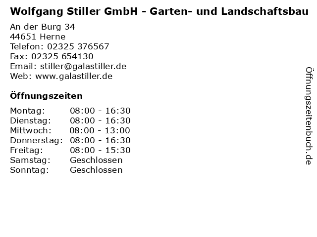 Wolfgang Stiller GmbH - Garten- und Landschaftsbau in Herne: Adresse und Öffnungszeiten