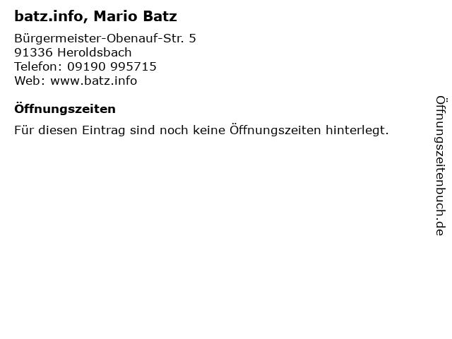 batz.info, Mario Batz in Heroldsbach: Adresse und Öffnungszeiten
