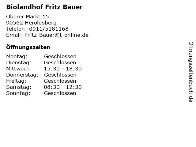 Biolandhof Fritz Bauer in Heroldsberg: Adresse und Öffnungszeiten