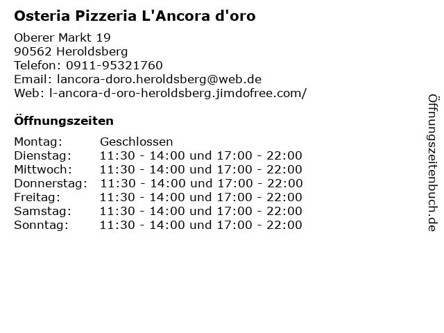 Osteria Pizzeria L'Ancora d'oro in Heroldsberg: Adresse und Öffnungszeiten