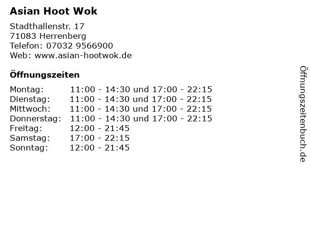 Asian Hoot Wok in Herrenberg: Adresse und Öffnungszeiten