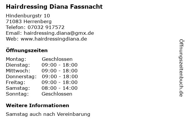 Hairdressing Diana Fassnacht in Herrenberg: Adresse und Öffnungszeiten