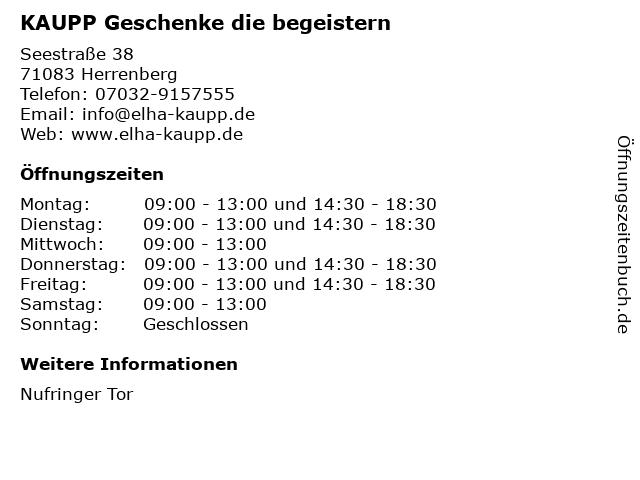 KAUPP Geschenke die begeistern in Herrenberg: Adresse und Öffnungszeiten