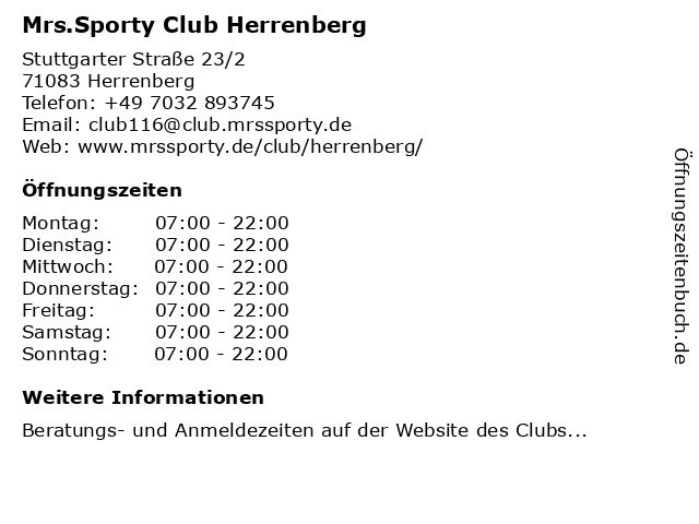 Mrs.Sporty Club Herrenberg in Herrenberg: Adresse und Öffnungszeiten