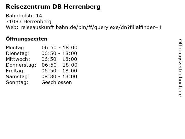 Reisezentrum DB Herrenberg in Herrenberg: Adresse und Öffnungszeiten