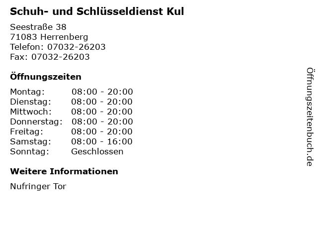 Schuh- und Schlüsseldienst Kul in Herrenberg: Adresse und Öffnungszeiten